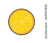 tasty lemon slice organic fruit | Shutterstock .eps vector #664947820