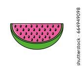 delicios slice watermelon fruit ... | Shutterstock .eps vector #664949098