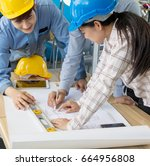 a group of engineers are... | Shutterstock . vector #664956808