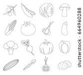 vegetables set icons in outline ...   Shutterstock . vector #664960288