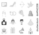 weeding set icons in monochrome ... | Shutterstock . vector #664962208