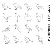bird set icons in outline style.... | Shutterstock . vector #664962298