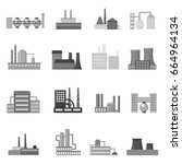 factory set icons in monochrome ... | Shutterstock . vector #664964134