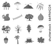 forest set icons in monochrome... | Shutterstock . vector #664964224