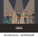 music band. group of young rock ... | Shutterstock .eps vector #664966288