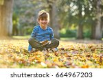 boy playing with autumn leaves | Shutterstock . vector #664967203