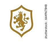 royal  luxury  and victory lion ... | Shutterstock .eps vector #664967848
