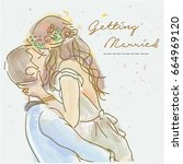 getting married card design... | Shutterstock .eps vector #664969120