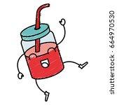 jar with juice fruit kawaii... | Shutterstock .eps vector #664970530