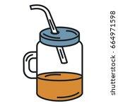 jar with juice fruit | Shutterstock .eps vector #664971598