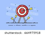 arrow hit the safe on target.... | Shutterstock .eps vector #664975918