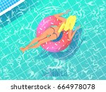 sexy girl relaxing on ring... | Shutterstock .eps vector #664978078