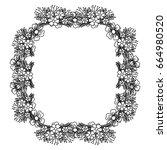 circular frame deoration floral | Shutterstock .eps vector #664980520