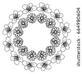 circular frame deoration floral | Shutterstock .eps vector #664980604