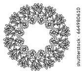 circular frame deoration floral | Shutterstock .eps vector #664980610