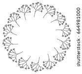 circular frame deoration floral | Shutterstock .eps vector #664981000