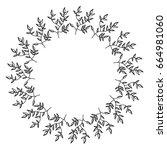 circular frame deoration floral | Shutterstock .eps vector #664981060