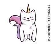 Stock vector isolated magic cat unicorn 664983358