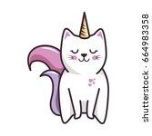 isolated magic cat unicorn | Shutterstock .eps vector #664983358