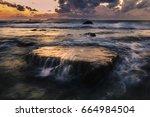 Sunset Seascape Waves Hit Rocks