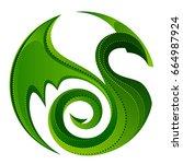 green circular dragon on a... | Shutterstock .eps vector #664987924