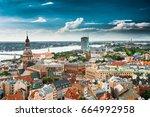 riga  latvia. riga cityscape in ... | Shutterstock . vector #664992958