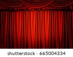 red velvet stage curtain for...   Shutterstock . vector #665004334