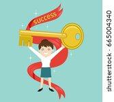 businesswoman holding golden... | Shutterstock .eps vector #665004340