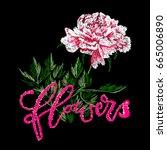 japanese flower embroidery...   Shutterstock .eps vector #665006890
