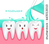 cute cartoon tooth with... | Shutterstock .eps vector #665013010