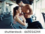 young woman doing exercises for ... | Shutterstock . vector #665016244