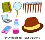 makeup icons perfume mascara... | Shutterstock .eps vector #665016448