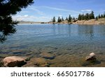 View from lake shore at Eleven Mile Reservoir in Colorado - stock photo