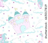 seamless pattern with fairy... | Shutterstock .eps vector #665017819
