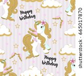 seamless pattern with cute... | Shutterstock .eps vector #665017870