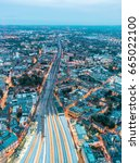 aerial view of london railway... | Shutterstock . vector #665022100