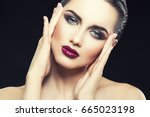 sexy woman with bright make up  ... | Shutterstock . vector #665023198