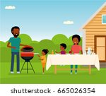 african happy family preparing... | Shutterstock .eps vector #665026354