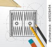 vector blueprint backgammon... | Shutterstock .eps vector #665028454