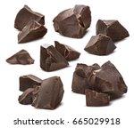 broken chocolate pieces set... | Shutterstock . vector #665029918