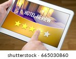 good hotel review. satisfied... | Shutterstock . vector #665030860