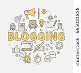 blogging colorful illustration. ... | Shutterstock .eps vector #665031838