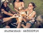 group of friends drinking beers ... | Shutterstock . vector #665033914