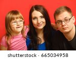 cute family of three face... | Shutterstock . vector #665034958