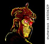 Warrior Skull Wearing Ancient...