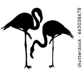 flamingo silhouette  vector ... | Shutterstock .eps vector #665038678