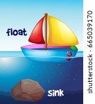 opposite words for float and... | Shutterstock .eps vector #665039170