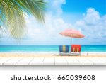 white wooden table and... | Shutterstock . vector #665039608