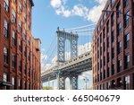manhattan bridge seen from... | Shutterstock . vector #665040679