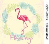 flamingo silhouette  vector ... | Shutterstock .eps vector #665040820